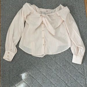 Free People Off the Shoulder Button Up Blouse